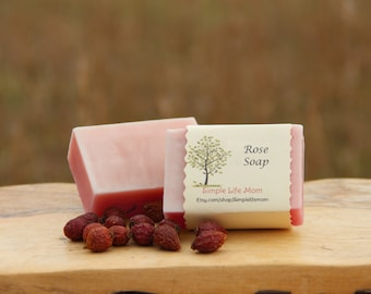 ROSE SOAP - 100% all natural, organic, cold processed soap, handmade with rose essential oil and rosehip oil, great gift for her