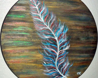 Feather Painting, handpainted on wood, rustic feather art feather wall hanging, metallic feather, acrylic painting, round art, feather decor