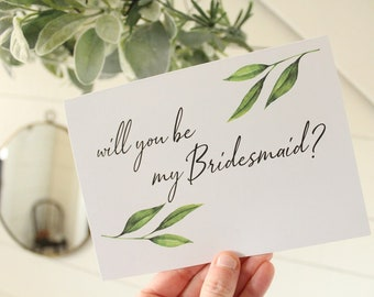 Will You Be My Bridesmaid Card | Elegant Wedding Card | Wedding Card | Greeting Card | Officiant Card