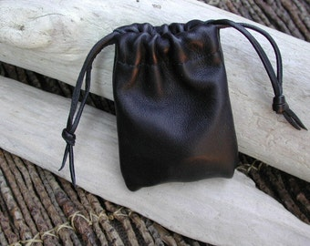Leather Pouch Bag, Coin Pouch, Drawstring Pouch Bag, Black Bag