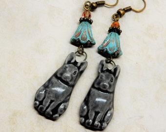 Bunny Earrings, Rabbit Earrings, Rabbit Jewelry, Gray Rabbit Earrings, Bunny Jewelry
