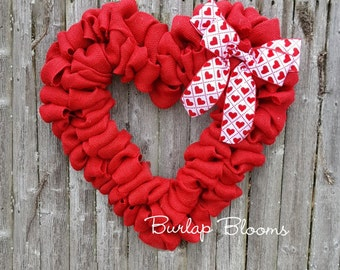 Burlap Valentine Wreath, Heart Wreath, Red Wreath, Burlap Wreath, Valentine's Day Wreath, White or Tan Bow