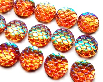 15 pieces orange mermaid scales - fish dragon mermaid scales - round cabs- 12mm approx cabochon settings - pretty iridescent AB shimmer