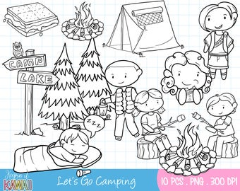 Cute Camping Digital Stamps Set - Outdoors Black and White Clip Art - Summer Time Clip Art - Camp Site Clipart - Cute Clipart