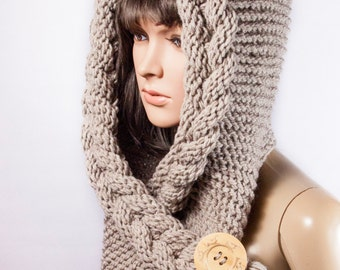 Hooded Scarf, Scarf, Hood, scarf hooded, Chunky scarf, Wool cowl | 207