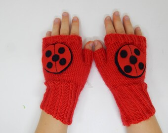 Lady Bug Miraculous Hand knitted fingerless gloves , crochet mittens. fingerless gloves