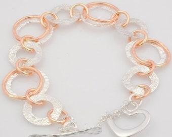 Chain Link Bracelet, Silver and Gold Link Bracelet, Handmade Link Bracelet, Handmade Silver Heart Lock, mixed metal Bracelet