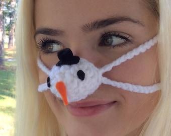 Snowman Hat Nose Warmer, Outdoor Sports Activities, Winter Sports gift idea, Unisex, Christmas Fun, Teacher Gift, Sleep Warm Nose Tailgating