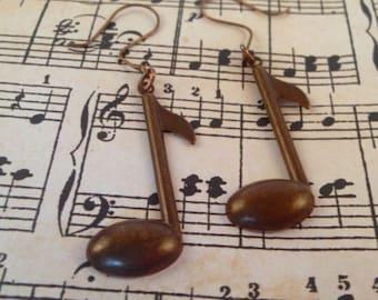 Brass Music Note Earrings