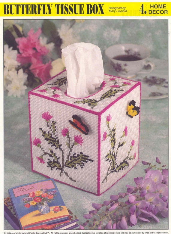 Butterfly Tissue Box Cover Plastic Canvas Pattern