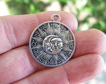 4 Sun Moon Zodiac Charms in Silver Tone - C2569