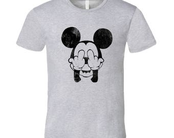 Mickey Mouse Middle Fingers Fun Graphic Tee Shirt
