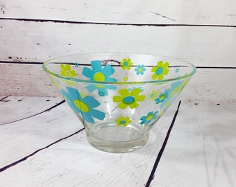 Retro Chip and Dip Bowl by Anchor Hocking, Blue and Green Flower Power Popcorn Bowl, Large Glass Serving Bowl, 1970s Salad Bowl