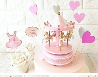 Music Box Carousel Pink Cake Topper - PD-383 - Birthday Party Merry go round Horse Baby Shower