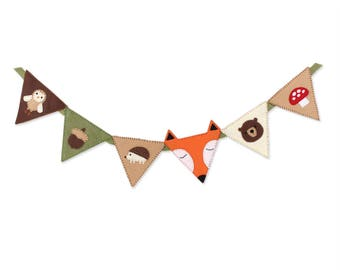 Woodland Bunting Banner Sewing Pattern, DIY Woodland Nursery Decor, Felt Woodland Baby Decor, Fox Owl Acorn Hedgehog Bear Mushroom