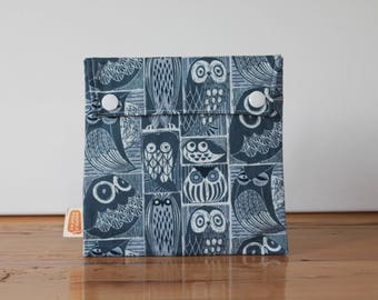 Reusable sandwich bag, reusable snack bag, fabric bag with Owls in dark blue print [#198], eco friendly, no waste lunch, washable, ProCare
