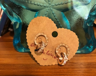 Roman Numerals Earrings with Crystals