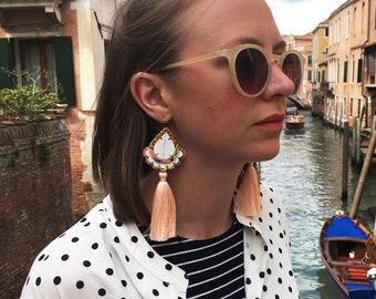 PEACH TASSEL EARRINGS.  Holiday jewellery. Pretty statement earrings.