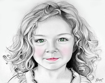 "Custom made pencil portrait. 16x20"" Children's portrait. Art with a cause. Personalized drawing. Kid's drawing. Custom gift. Wall art"