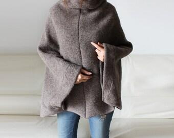 Italian wool sweater cape, discount, 100% wool poncho, wool loose sweater, free size sweater