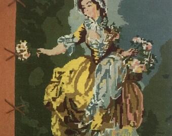 Pastel 'Bouquetiere' needlepoint cushion
