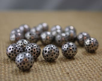 12mm Antique Silver Dotted Round Beads (17 Pieces)