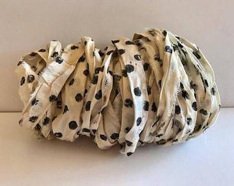 Recycled Silk Sari Ribbon-Polka Dot Sari Ribbon-10 Yards