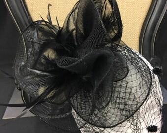Vintage inspired black feather tulle fascinator