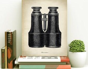 Binoculars print, old binoculars print, vintage binoculars wall art, optical instrument, lens, view distant objects. black and white