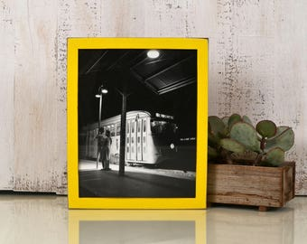 8x10 Picture Frame in Peewee Style with Vintage Yellow Finish - IN STOCK - Same Day Shipping - 8x10 Photo Frame Solid Hardwood