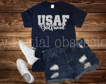 USAF girlfriend, Short Sleeve Tee, Navy Blue Short Sleeve Tee