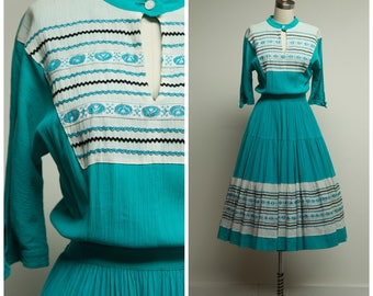 Vintage 1950s Dress • Southwestern Sunset • Turquoise Silver Black 50s Patio Dress Size Small