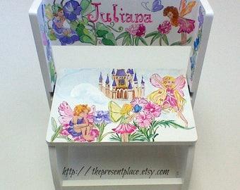 flip step stool,white,fairies,flowers,butterflies,mermaids,flip stepstool,children's step stool,kids stool,kids furniture,chair,girl's bench