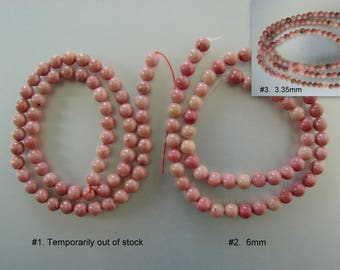 SALE. Natural Rhodonite Stone Bead Strands, Round, 6mm, 3.35mm,   (G-R1BB93-09-6mm)