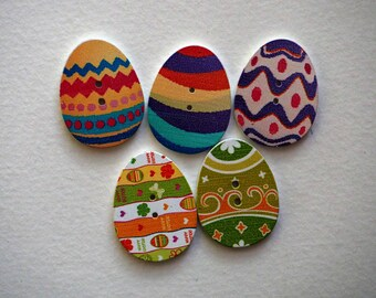 5 buttons wooden Easter eggs, 31x23x2mm 5 varied and different colors, sewing, scrapbooking, deco, customization...