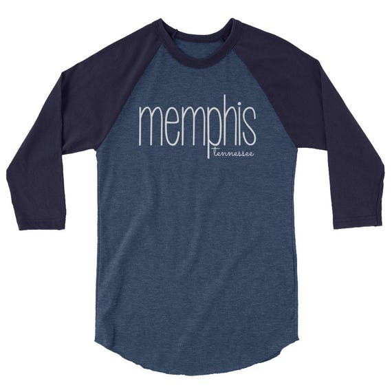 Memphis Tennessee Unisex Women's Men's City State 3/4 sleeve raglan shirt