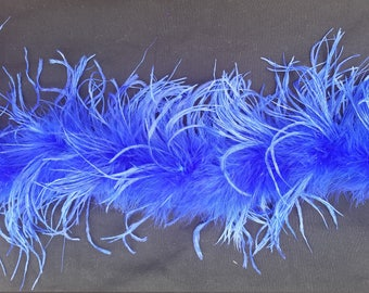 Royal Blue Ostrich Feather boa, 2-ply, 25 inches