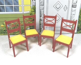 "RENWAL CHAIR SET of Four, 1950's, Hard Plastic, D53/K63 Kitchen and/or Dingroom, 3/4"" Scale, Vintage Tin Dollhouse Furniture"