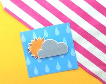 Cute 3D Cloudy Sunshine Brooch