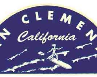 Vintage Style San Clemente  California San Diego  Hot Rod   Surfing  1960's   Travel Decal bumper sticker surf surfboard