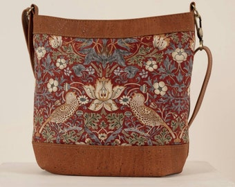 """Genuine Cork Leather """"Sway"""" Crossbody Tote Bag,  With Strawberry Thief Panel, Bucket Bag, William Morris Print, CanadianMade, Plumage Studio"""