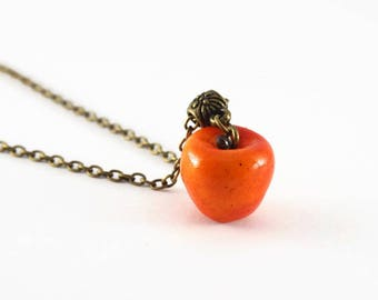 Realistic orange Apple necklace - polymer clay