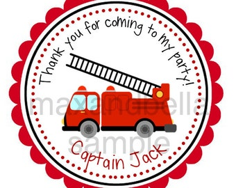 Fire Engine Truck Personalized Stickers, Gift Tags, Address Labels, Birthday, Fire Captain, Boy, Girl, Red, Black, Stripes - Set of 12
