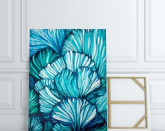 LARGE GICLÉE print, abstract print of painting, Modern Art Print, Abstract Nature, Marine Blue Teal White, Abstract Shell Sealife Print