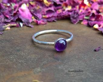 Amethyst ring. Amethyst jewelry. Silver jewelry Silver ring. Boho ring. Boho jewelry. Purple ring. Stacking ring. Stone ring. Stone jewelry