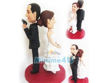 007 style handmade wedding cake topper & 3D doll  (Free Shipping Worldwide)
