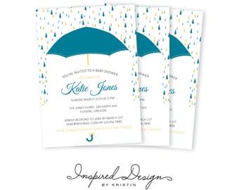 Umbrella baby shower, digital invitation, 5x7, marroon & turquoise