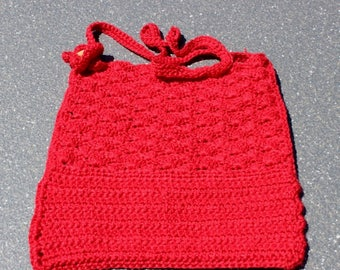 OOAK handmade ruby crochet & floral print cotton-lined handbag