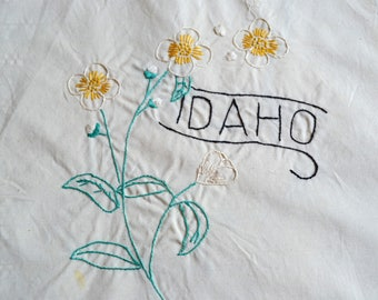 Vintage Hand Embroidered Quilt Square - Idaho State Flower