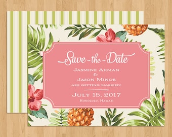 Hawaiian/Beach/Tropical Wedding Floral Save-The-Date Flat Card with Envelope (Design #4)